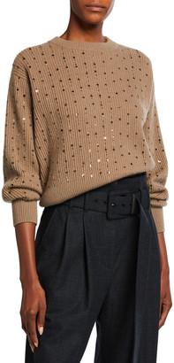 Brunello Cucinelli English Rib Sequined Crewneck Sweater