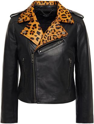 Muu Baa Muubaa Cropped Printed Calf Hair-trimmed Leather Biker Jacket