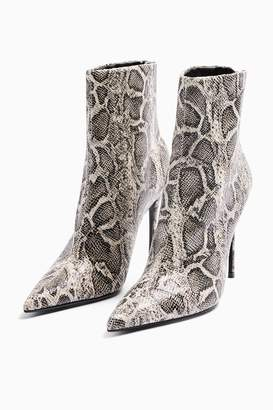 Topshop Womens Eda Grey Snake Point Boots - Grey