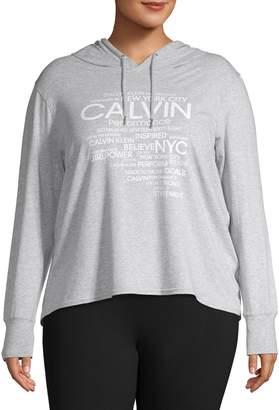 Calvin Klein Plus Graphic Cotton Blend Hoodie