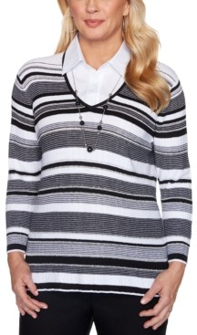 Alfred Dunner Petite Riverside Drive Texture Stripe Layered-Look Necklace Sweater