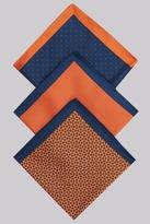Moss Bros Orange 3 Pack Pocket Squares