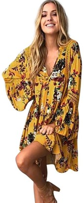 DEELIN Fashion Sexy Women Boho Floral Hollow Out Slim Lace Long Maxi Full Sleeve Asymmetrical Evening Party Cocktail Beach Mini Dress Sundress(Yellow S)