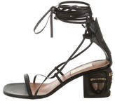 Valentino 2016 Tribal-Mask Leather Sandals w/ Tags