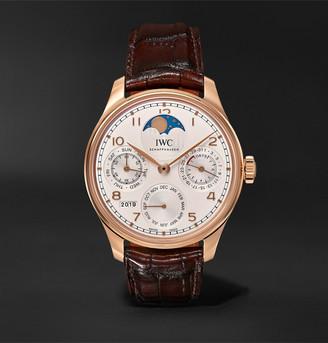 IWC SCHAFFHAUSEN Portugieser Perpetual Calendar Automatic 44.2mm 18-Karat Red Gold And Alligator Watch, Ref. No. Iw503302msnet60