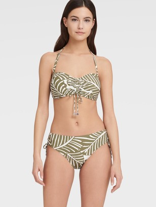 DKNY Women's Tie Front Bandeau Bikini Top With Removable Strap - Olive - Size XL