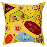 Bacati Sunshine Yellow 16 x 16-Inch Embroidered Pillow