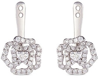 Lc Collection Jewellery 'Versatile' diamond 18k white gold rose earring jackets