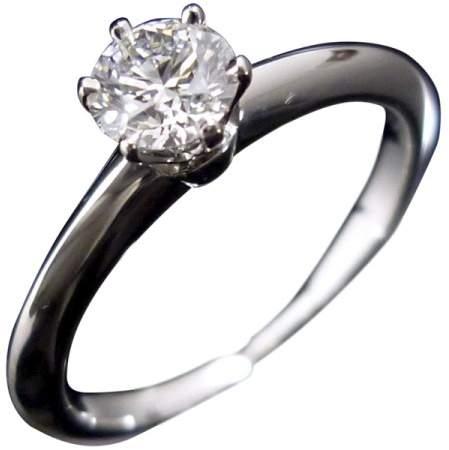 Tiffany & Co. 950 Platinum & 0.34ct Diamond Ring Size 5