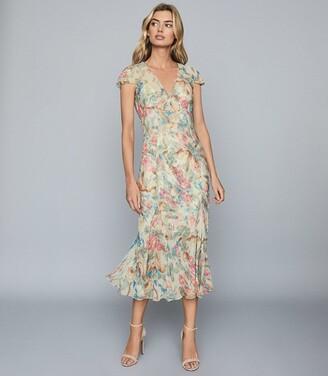 Reiss Lilly - Floral-print Chiffon Midi Dress in Pink