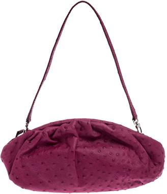 Furla Magenta Ostrich Embossed Leather Zip Clutch Bag