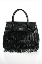 Larettamia Black Leather My Chic Skull Fringe Trim Tote Handbag NEW
