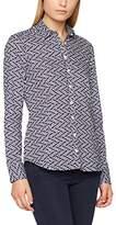Eterna Women's Comfort Fit Langarm Marine Bedruckt Mit Hemd-Kragen Blouse