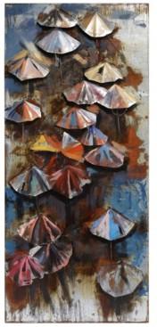 "Empire Art Direct Umbrellas Mixed Media Iron Hand Painted Dimensional Wall Art, 80"" x 36"" x 2.8"""