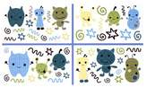 CoCalo Removable Wall Appliques Peek A Boo Monsters, Blue/Brown/Green