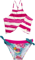 Big Chill Pink Stripe Asymmetrical Bikini - Girls