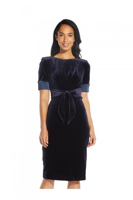 Adrianna Papell Velvet Tie Sheath Dress