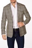 Levinas Khaki Glenplaid Two Button Notch Lapel Wool Slim Fit Blazer