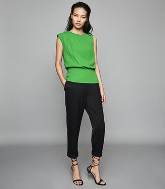 Reiss Roberta - Pleat Detailed Sleeveless Top in Green