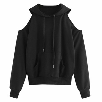 HOOUDO Women Winter Autumn Sweatshirt Casual Sexy Solid Long Sleeve Casual Off Shoulder Hooded Sweatshirt Pullover Blouse(M