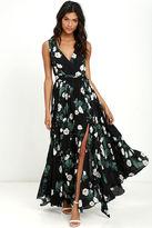 LuLu*s Magnolia Blooms Black Floral Print Maxi Dress