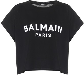 Balmain Logo cropped cotton T-shirt