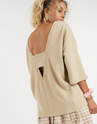 Noisy May top with cut out in beige