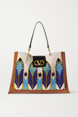 Valentino Garavani City Safari Canvas, Leather And Velvet Tote - Tan