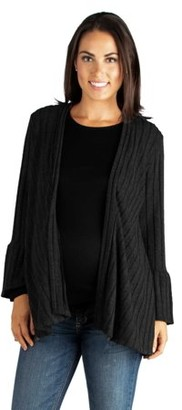 24/7 Comfort Apparel 24seven Comfort Apparel Bell Sleeve Womens Open Front Maternity Cardigan
