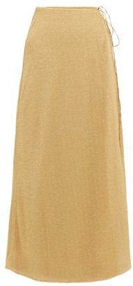 Oseree Lumiere Lame Wrap Skirt - Gold