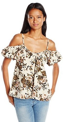 Lucy-Love Lucy Love Women's Holle Floral Printed Off Shoulder Top
