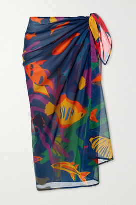 Eres Urchin Printed Silk-chiffon Pareo - Navy