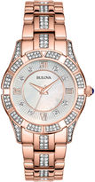 Bulova Womens Rose-Tone Crystal Accent Watch 98L197