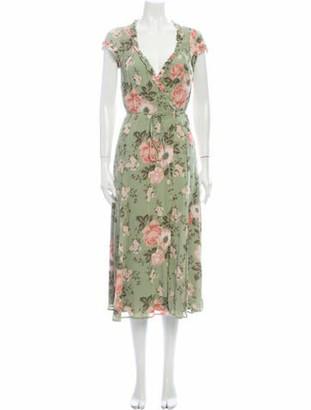 Reformation Floral Print Midi Length Dress Green