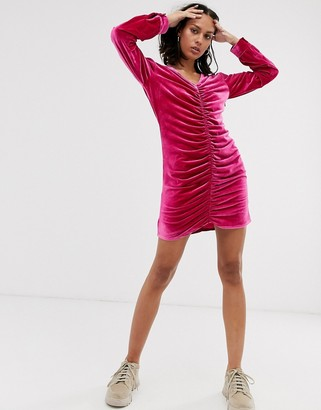 Hosbjerg long sleeve velvet dress with ruched front-Pink