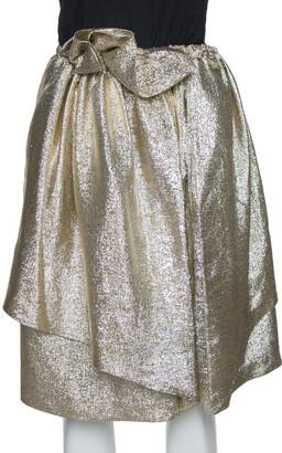 Stella McCartney Gold Lurex Gathered Brynn Asymmetric Skirt S