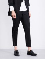 Brunello Cucinelli Beaded-detail high-rise tailored stretch-wool trousers