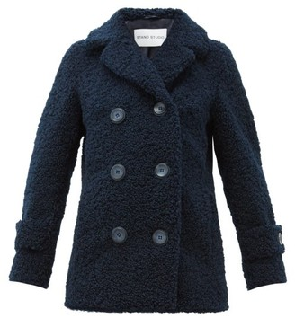 Stand Studio Lou Double-breasted Faux-shearling Coat - Womens - Navy