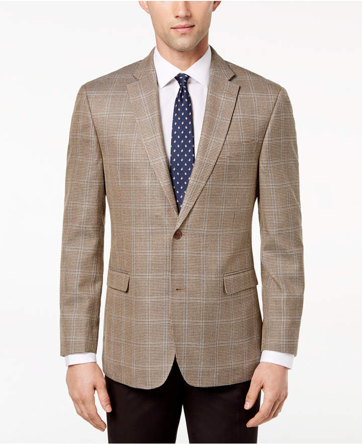 Tommy Hilfiger Men's Modern-Fit Brown/Tan Houndstooth Windowpane Silk and Wool Sport Coat