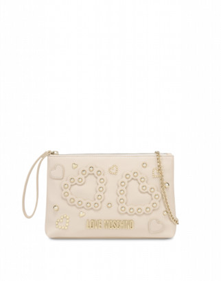 Love Moschino Clutch With Hearts And Studs Woman White Size U It - (one Size Us)