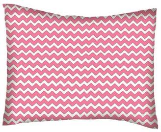 Sheetworld Twin Pillow Case - Percale Pillow Case - Bubble Gum Pink Chevron Zigzag