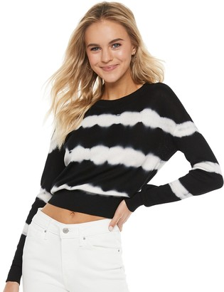 Almost Famous Juniors' Tie Dyed Crewneck Long Sleeve Pullover