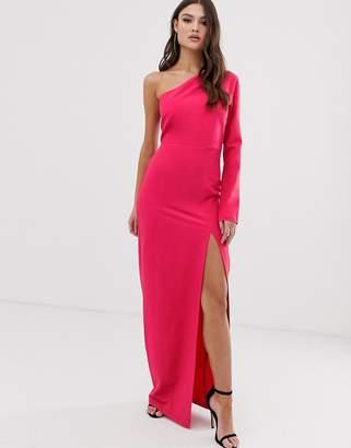 Vesper one shoulder maxi dress with split in hot pink