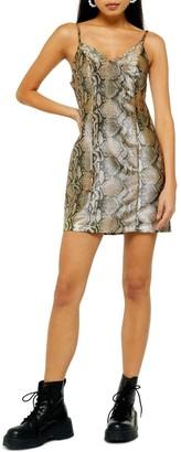 Topshop Snake Print Mini Dress