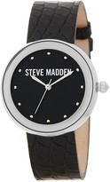 Steve Madden Women's Croc-Embossed Genuine Leather Strap Watch