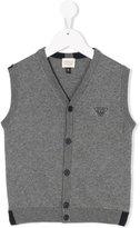 Armani Junior knitted logo waistcoat - kids - Cotton/Wool - 4 yrs