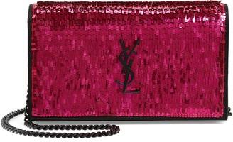 Saint Laurent Kate Embellished Wallet on a Chain