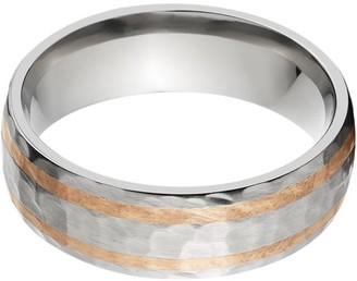 Online 7mm Half-Round Titanium Ring with Two 1mm Copper Inlays and a Hammered Finish