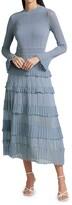 Thumbnail for your product : Lela Rose Ruffle Detail Long Sleeve Knit Midi Dress
