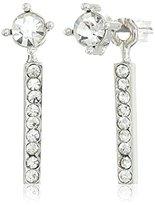 Jessica Simpson Rhodium/Crystal Petite Rectangle and Circle Stud Earrings